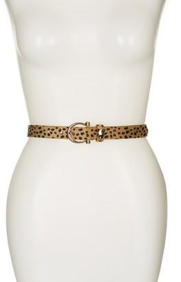 Linea Pelle Leopard Faux Fur Trim Belt