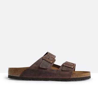 Birkenstock Unisex Arizona Two-Strap Regular Width Sandals in Habana Brown Oiled Leather
