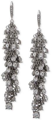 Jenny Packham Hematite-Tone Shaky Crystal Cluster Linear Drop Earrings
