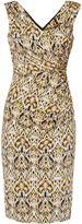 Gina Bacconi Yellow Blue Print Jersey Dress