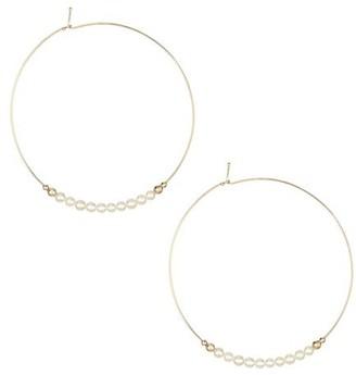 Mizuki Large 3 - 3.5MM Pearl & 14K Gold Hoops