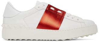 Valentino White and Red Garavani Rockstud Open Sneakers