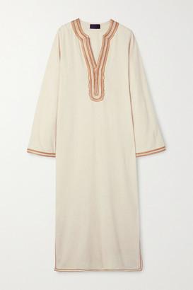 Nili Lotan Honor Embroidered Silk-gauze Midi Dress - Beige
