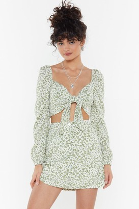 Nasty Gal Womens Leaf It To Me Floral Tie Top - Green - 14, Green