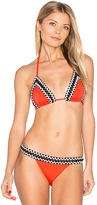 Sauvage Woven Trim Triangle Bikini Top in Red. - size L (also in )