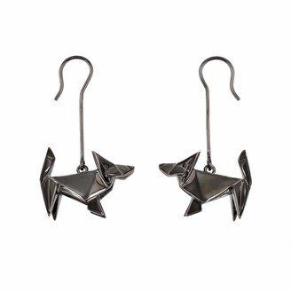 Origami Jewellery Earrings Dog Gun Metal