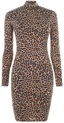 Bardot Leopard High Neck Dress