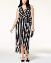 INC International Concepts I.N.C. Plus Size Striped Faux-Wrap Maxi Dress, Created for Macy's