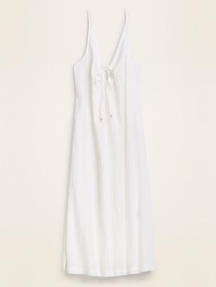 Old Navy Gauze Tie-Front Midi Swim Cover-Up Dress for Women