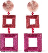 Oscar de la Renta Beaded Silk Clip Earrings - Fuchsia
