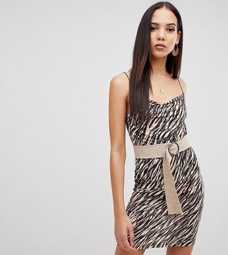 Asos Tall ASOS DESIGN Tall animal print mini dress with belt