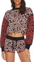 Beach Riot Ava Leopard Print Crop Sweatshirt