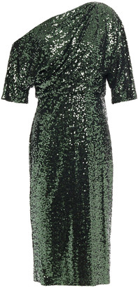 Badgley Mischka One-shoulder Sequined Mesh Dress