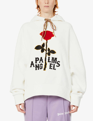 Palm Angels Rose-embroidered oversized cotton hoody