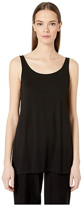 Eileen Fisher Scoop Neck Long Tank (Black) Women's Clothing