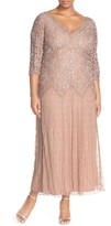 Pisarro Nights Plus Size Women's Beaded V-Neck Lace Illusion Gown