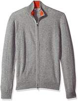 Phenix Cashmere Men's Double Zip Mock Cardigan Sweater With Color Tipping