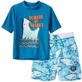 "Osh Kosh Boys 4-7 Beware of Sharks"" Rashguard & Swim Trunks Set"