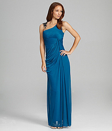 Adrianna Papell One-Shoulder Gown