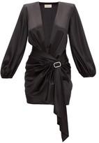 Alexandre Vauthier Deep V-neck Satin Short Dress - Womens - Black