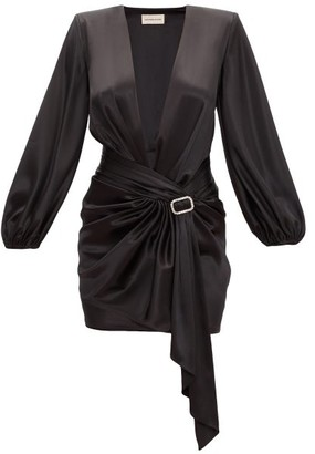 Alexandre Vauthier Deep V-neck Satin Short Dress - Black