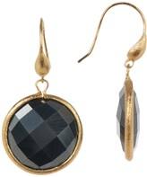Rivka Friedman Faceted Hematite Satin Round Single Dangle Earrings