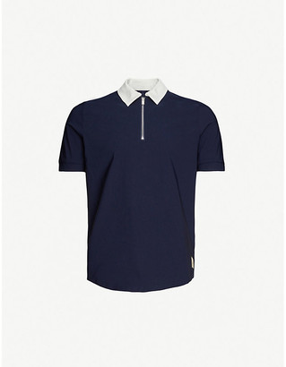 Prevu Salvtre contrast-collar classic-fit shell polo shirt