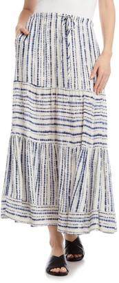 Karen Kane Tie Dye Stripe Tiered Maxi Skirt