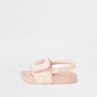 River Island Mini girls Pink glitter RI sliders