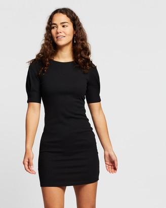 Atmos & Here Atmos&Here - Women's Black Mini Dresses - Julia Ribbed Mini - Size 12 at The Iconic