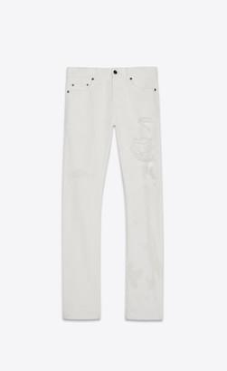 Saint Laurent Slim Jeans With Holes In White Stonewash Denim White Stonewash 27