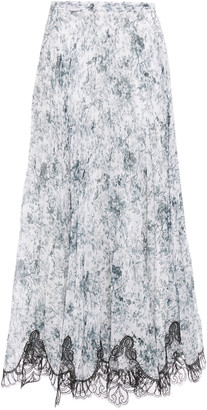 Costarellos Lace-trimmed Pleated Printed Georgette Maxi Skirt