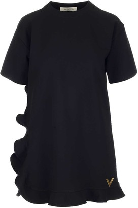 Valentino VGold Ruffle Trim T-Shirt Dress