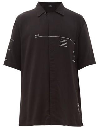 Marcelo Burlon County of Milan Otro Mundo-print Cuban-collar Shirt - Black White
