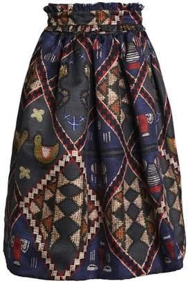 Stella Jean Pleated Printed Gabardine Midi Skirt