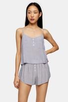 Topshop Navy Stripe Button Cami Pyjama Set