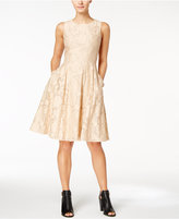 Tommy Hilfiger Clipped Floral Organza Fit & Flare Dress