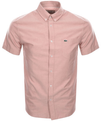 Lacoste Short Sleeved Oxford Shirt Pink