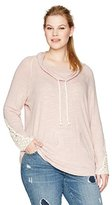 Miss Chievous Women's Plus Size Cowl Neck Hooded Pullover