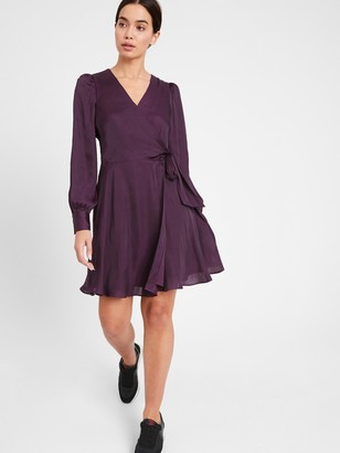 Banana Republic Satin Puff-Sleeve Wrap Dress