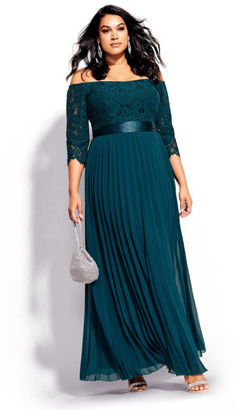 City Chic Intriguing Maxi Dress - emerald