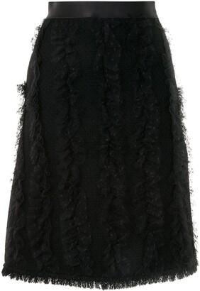 Giambattista Valli Mesh Ruffled Skirt