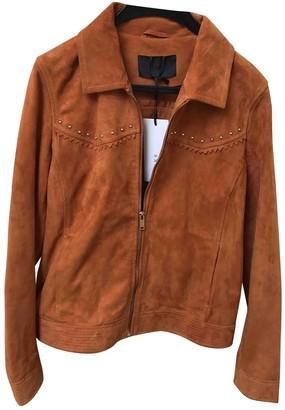 Ikks Orange Leather Jacket for Women