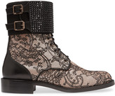 Rene Caovilla Embellished leather and lace boots