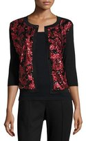 Michael Simon Sequined Floral Button-Front Cardigan, Petite