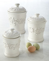 Horchow Three Bianca Leaf Canisters