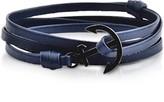 Forzieri Leather Men's Double Bracelet w/Black Anchor