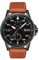 HUGO BOSS Aviator Stainless Steel Buckled Leather Strap Watch