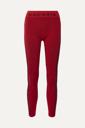 Woolmark Nagnata - + The Company Laya Intarsia Technical Stretch-knit Leggings - Claret