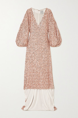 Halpern Sequined Georgette Gown - Blush